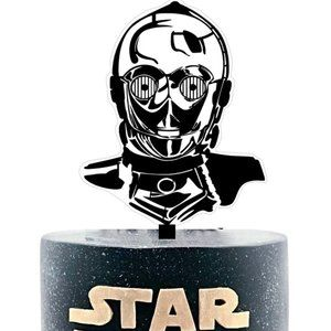 Large 3D C3P0 Hand Painted Acrylic Cake Topper